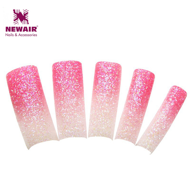 70pcs New Style Glitter French Nails Dazzling Beauty Pink White Sparkling Fake Half