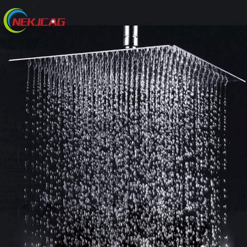 multiple sizes options retail polished chrome finish bathroom square rain shower head ceiling wall top sprayer - Ceiling Shower Head