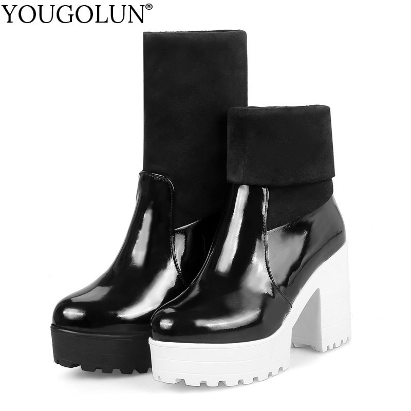 Platform Ankle Boots Women New Autumn Winter High Square Heels Shoes A295 Knitting Fashion Ladies White Black Round Toe Boots in Ankle Boots from Shoes