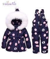 Baby Girl Winter Clothes Sets Hooded Down Jacket Bow Print Overalls Jumpsuits Snow Wear Children Toddler
