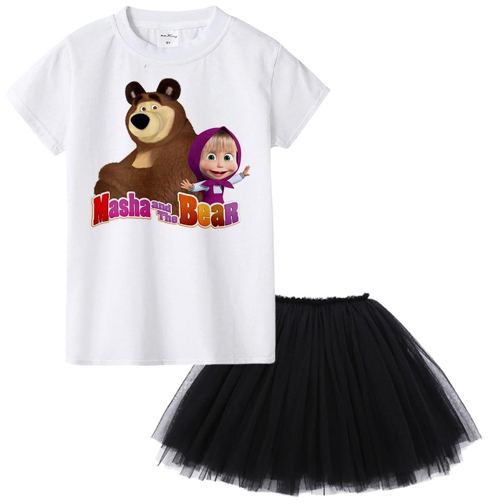 1Y To 12Y Masha and Bear Kids Girl Clothes Masha E O Urso (y El Oso) Children Clothing Baby Toddler Summer Set Ensemble Fille