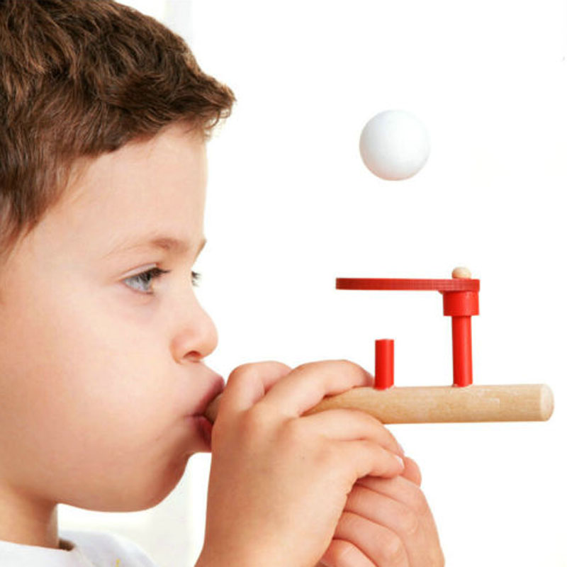 Foam Ball Floating Ball Game Blowing Balls Games Wooden Pipe Balance Blow Toy