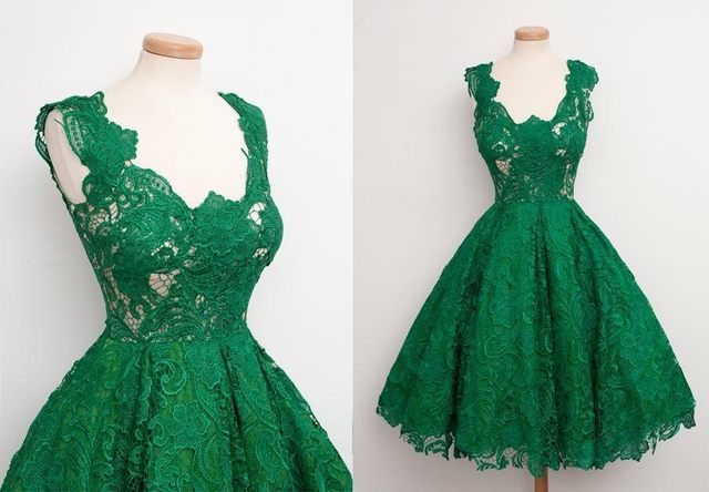 Custom Made Floral Lace Green Short Prom Dresses Sleeveless Scoop Neck  1950s Retro Prom Gowns Women Formal Party Dresses LM114 16b9265117dc