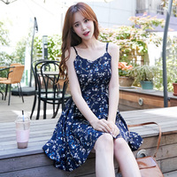 2018 Summer New Europe and America Sling Floral Frill Dresses