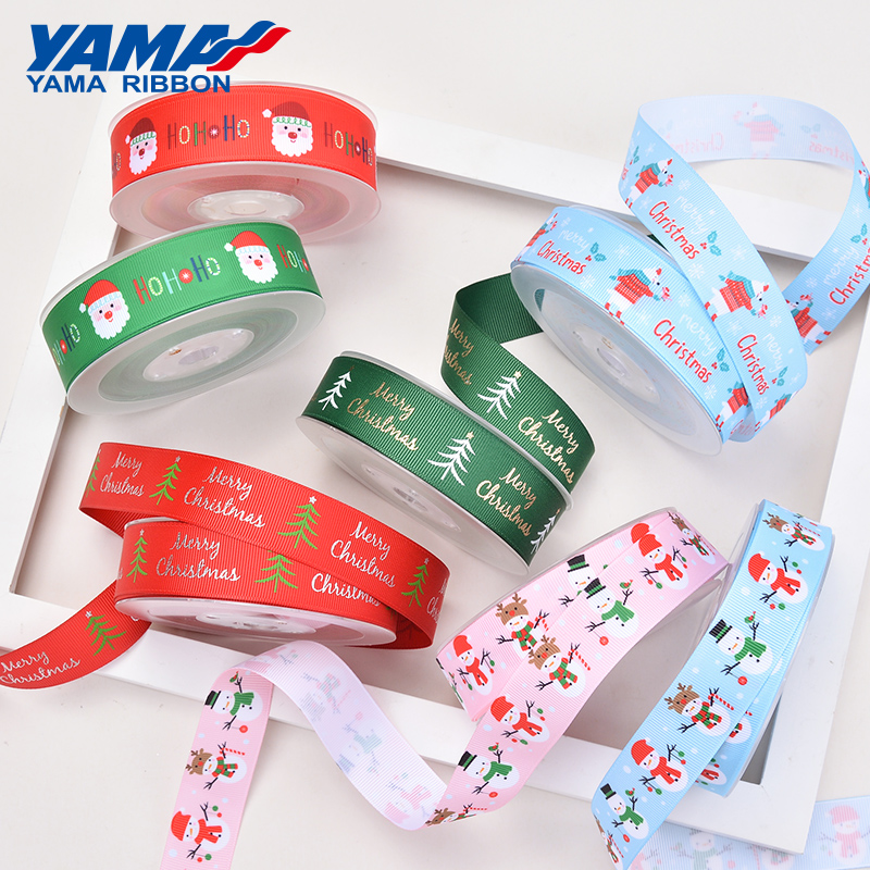 YAMA 1 Inch 25mm Wide Christmas Grongrain Ribbon 100yards For Craft Packing Wedding Decoration Craft Woven Printed Green Red