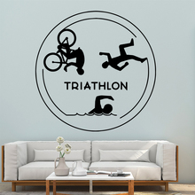 Lovely Triathlon Pvc Wall Decals Home Decor For Living Room Kids Room Background Wall Art Decal Drop Shipping drop shipping cabaret wall art decal wall stickers pvc material for kids room living room home decor removable decor wall decals