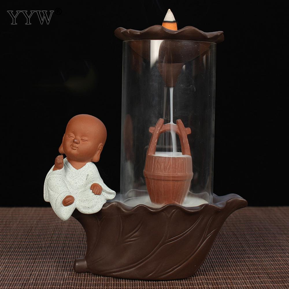 Permalink to Incense Burner Holder Backflow Cones Incense Holder Incense Aroma Burner Smoke Waterfall Censer Cute Monk Creative Home Decor
