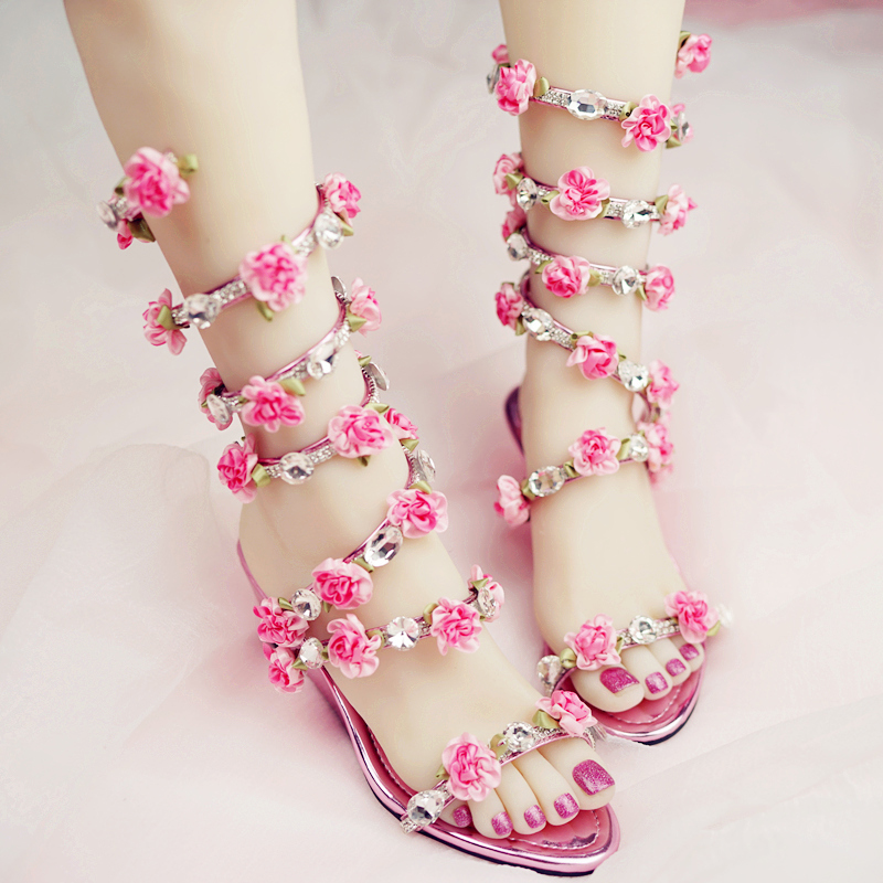 Nicest Summer Dress Shoes Wedge Heel Open Toe Bridal Boots Women Wedding Sandals Crystal and Pink Flower Women Gladiator Sandal