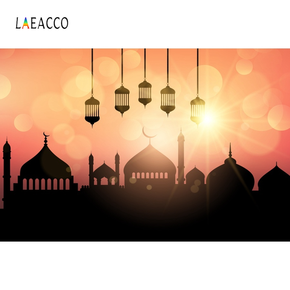 Laeacco Mosque Moon Night Muslim Photography Background Mubarak Party Scene Customized Photographic Backdrops For Photo Studio in Background from Consumer Electronics