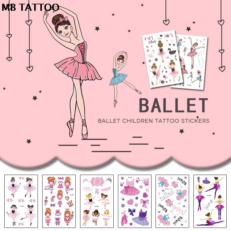 Cartoon Temporary Tattoo Sticker For Body Art Dancing Ballet High Heeled Shoe Cat Water Transfer Flash Fake Tatoo For Girl Women