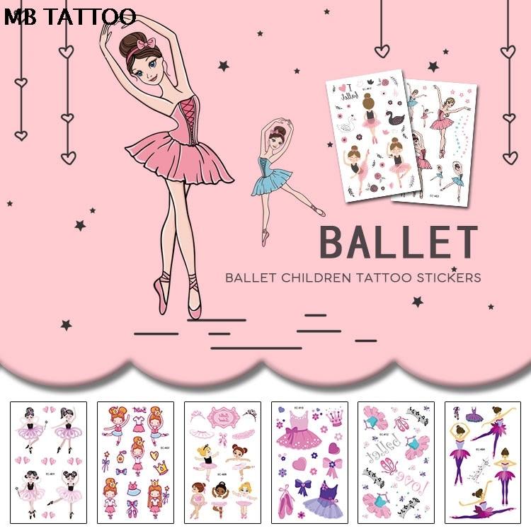 Cartoon Temporary Tattoo Sticker For Body Art Dancing Ballet High Heeled Shoe Cat Water Transfer Flash Fake Tatoo For Girl Women
