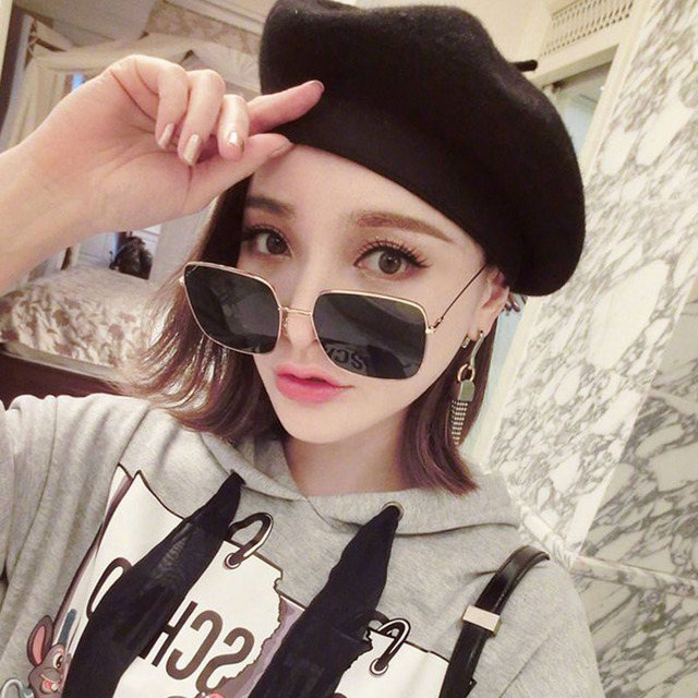 04e32f9dc Fashion Retro Metal Frame Square Sun Glasses 2018 Trendy Pink Cute Women  Sunglasses Women Brand Designer