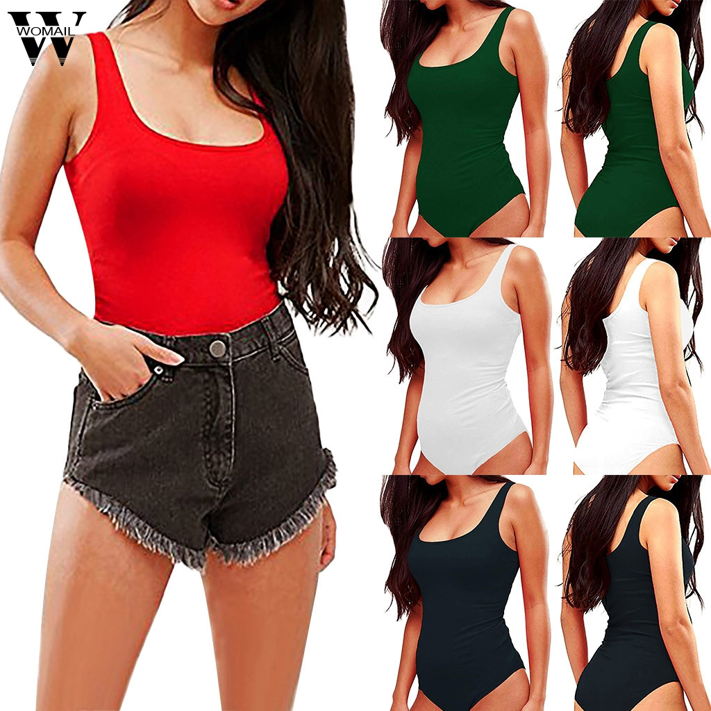 Womail bodysuit Women Summer Sexy Sleeveless Halter Tights Jumpsuits Casual fashion High Quality Short Jumpsuit 2019 A18