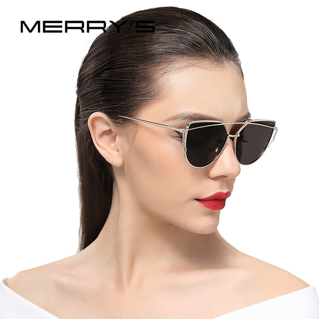 24eee5f771 MERRY S New Fashion Sunglasses Women Cat Eye Sun Glasses Brand Designer  Classic Fashion Twin-Beams Flat Panel Lens UV400 S 7882
