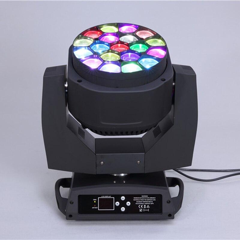 Удивительный эффект 19 шт. * 15 Вт led rgbw 4 в 1 большой пчелы глаз зум перемещение головы мыть свет диско k10 led dmx dj освещения поворота эффект