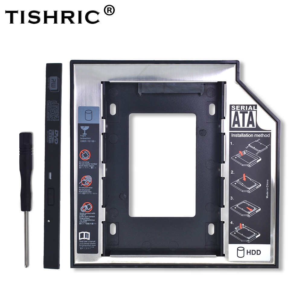 "TISHRIC Plastic Aluminum Universal Optibay 2nd HDD Caddy 9.5mm SATA3.0 2.5"" SSD CD DVD To HDD Case Enclosure CD-ROM ODD"