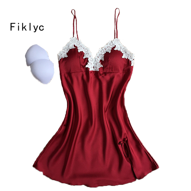 Fiklyc marke sexy frauen silk satin nacht kleid ärmelloses nachthemd ...