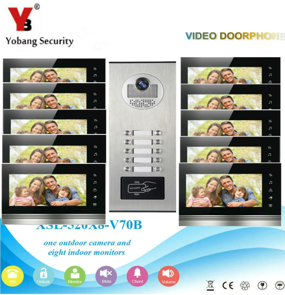 YobangSecurity Video Door Phone Intercom System 7 Inch HD Video Door Doorbell Camera RFID Access Control 1 Camera 10 Monitor. цена