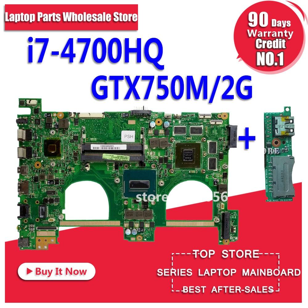 Envoyer conseil + avec i7-4700HQ GT750M 2 gb N550JV Carte Mère Pour ASUS G550JK N550JK N550JV G550JV G550J N550J N550JX ordinateur portable carte mère