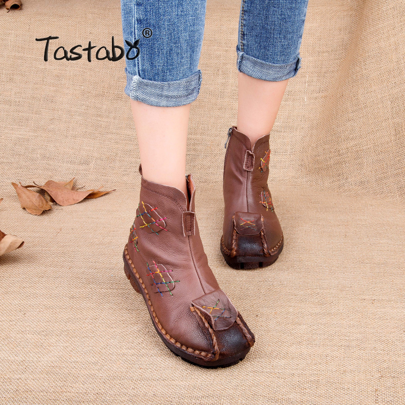 Tastabo Fashion Martin Boots Genuine Leather Ankle Shoes Vintage Mom Women Shoes comfortable Retro Handmade Boots For Women tastabo 2017 fashion handmade boots for women genuine leather ankle shoes vintage mom women shoes round toes martin boots