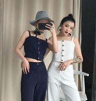 Tracksuits Real Sınırlı Polyester 2017 Bayanlar Suit Retro Bronz Toka yelek + Büyük Cep Dokuz Puan Geniş Bacak Pantolon Iki kadın