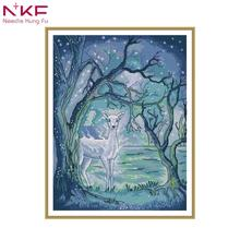 NKF New arrival Silver deer in Aurora Needlework DIY Handmade 11CT 14CT Cross