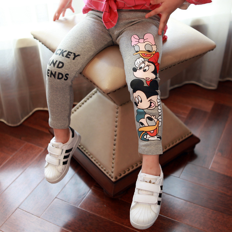 3-7yrs Spring Autumn Girls Mickey Minnie 100% Cotton Long Pants Cartoon Print Baby Girl Pants Elastic Waist Kids Casual Leggings