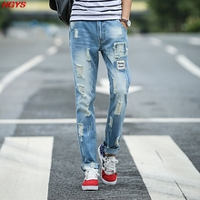 2017 light color jeans men's cultivate one's morality hole thin denim trousers teenagers The beggar pants