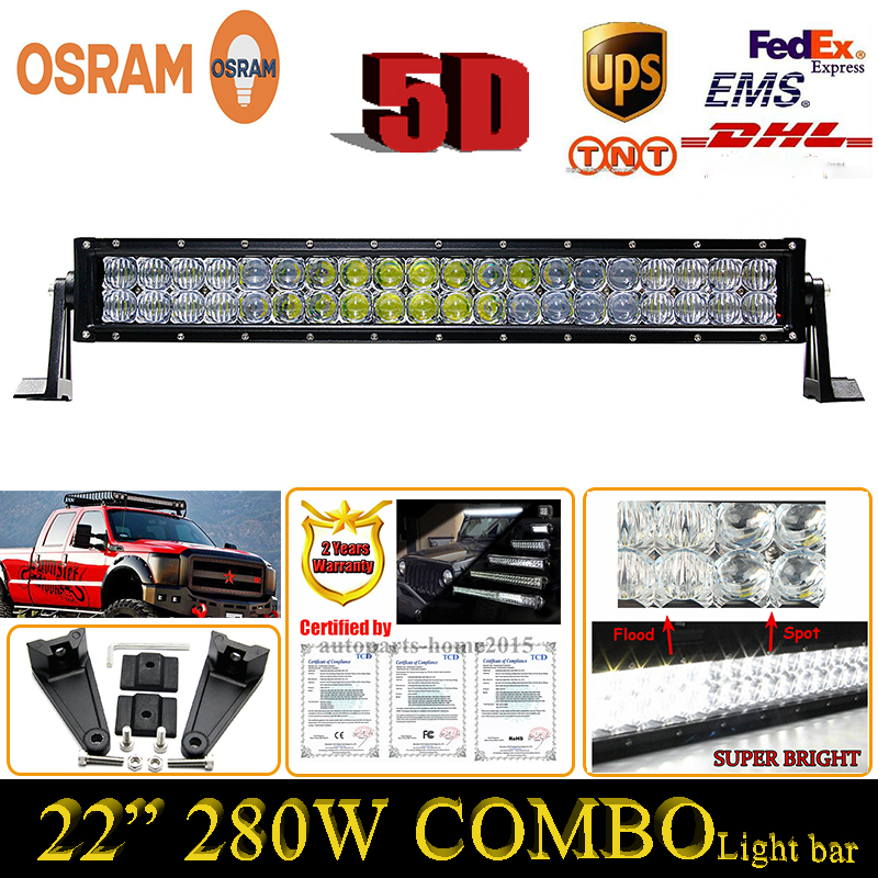 280W Combo 22Inch 5D ForOsram LED Work font b Light b font Bar External Strip type