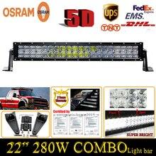 280 W Combo 22 Pulgadas 5D ForOsram LED Luz de Trabajo Bar Strip-tipo Recto Externo Faros Camión Remolque UTE Offroad Lámpara de Conducción