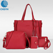 Women Fashion 4pcs/set PU Bags Ladies Preppy Style Solid Handle Tote Wholesale