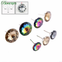 Colorful Glass Diamond Pattern Crystal Upholstery Nails Tacks Studs Pins Dia Sofa Wall Decor Furniture Decoration 20/25/30MM NEW new coming 100pcs 25 35mm crystal nail buckle crystal nails button sofa wall decoration furniture accessories crystal buckle