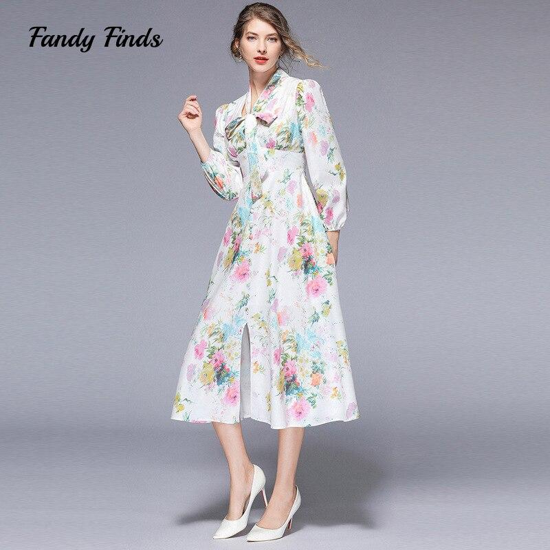 Fandy trouve Style européen Floral col en V ruban arc Prairie Chic femmes été mince plage vacances décontracté imprimé dame robe
