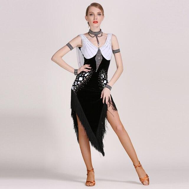 GB030 Latin Dance Costume Rumba Samba Cha Cha Tassel Dancing Dress Women Lady Ballroom Costume Evening Party Dress 5