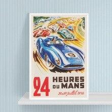 24 Horas de Le Mans carrera Vintage carrera de automóviles cartel impresiones coche deportivo de 1956 carrera Francia cuadro sobre lienzo para pared decoración de habitación de niños