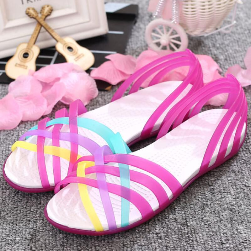 Women Sandals Jelly Shoes Peep Toe Summer Beach Shoes Zapatos De Mujer Ladies Slides Candy Rainbow Women Sandals Jelly Shoes Peep Toe Summer Beach Shoes Zapatos De Mujer Ladies Slides Candy Rainbow Flats Sandalias Mujer 2019