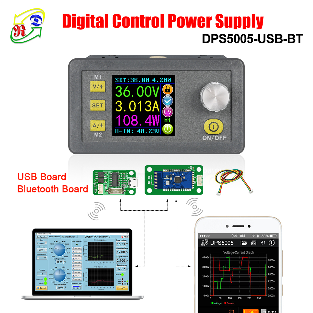 RD DPS5005 Communication Constant DC - DC Voltage current Step-down Power Supply module buck Voltage converter voltmeter 50V 5ARD DPS5005 Communication Constant DC - DC Voltage current Step-down Power Supply module buck Voltage converter voltmeter 50V 5A
