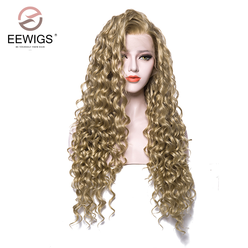 EEWIGS Heat Resistant Synthetic Lace Front Wig Natural Blonde Curly Wig Pure Color Long Brown Women's Wigs For Drag Queen