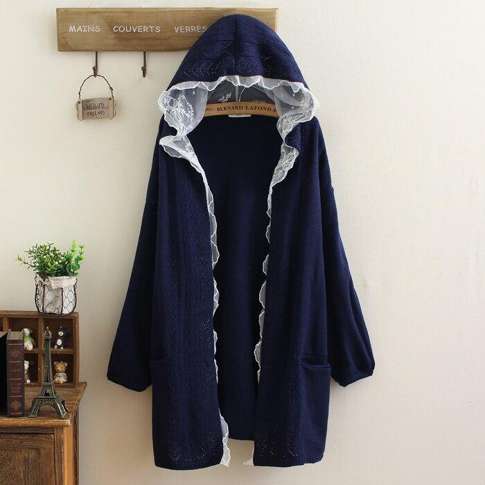 Japonais Mori Top Dentelle Outercoat Femelle Coat Veste Tricoté Cardigan Casual Chandail Fille Crochet Femmes qRU1rqZ