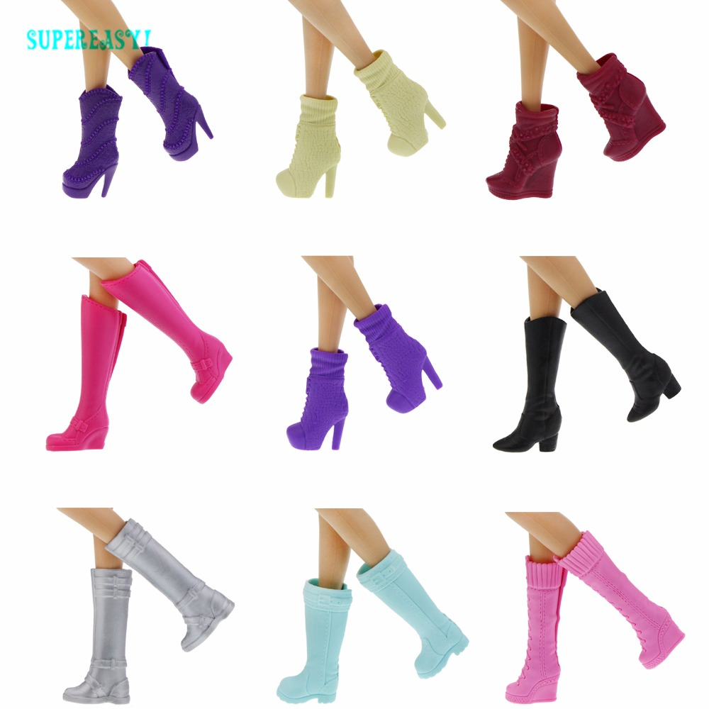 Fashion Colorful Boots Mixed Style Assorted Casual High Heels Long Barrel Cute Shoes Clothes For Barbie Doll Accessories Toys