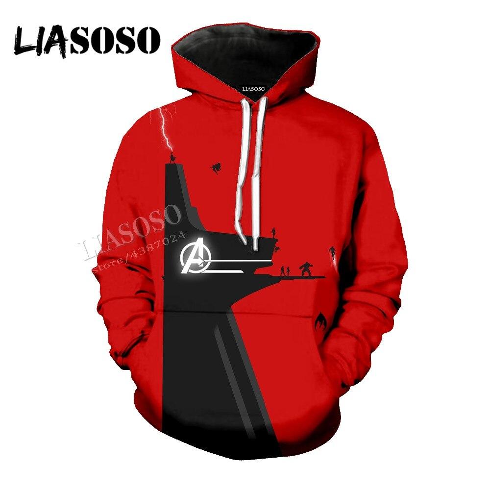 LIASOSO latest 3D printing Marvel comics movie minimalist Avengers hooded shirt men women sports shirt series CX155