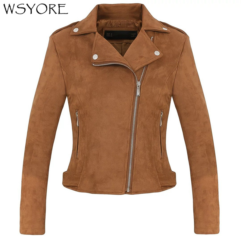 WSYORE Fashion Lapel Long-sleeved Zipper Wild   Suede   Jacket Women Spring and Autumn Coat Faux   Leather   Motorcycle Jacket NS312
