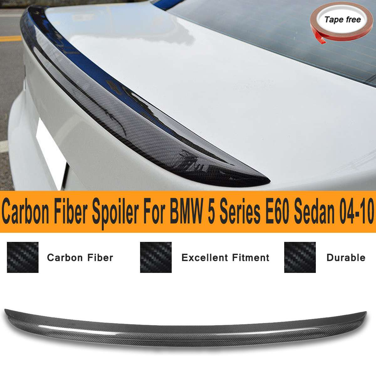 Real Carbon Fiber Rear Trunk Spoiler Wing for BMW 5 Series E60 Sedan M5 Style 2004-2010 Exterior Replacement PartsReal Carbon Fiber Rear Trunk Spoiler Wing for BMW 5 Series E60 Sedan M5 Style 2004-2010 Exterior Replacement Parts