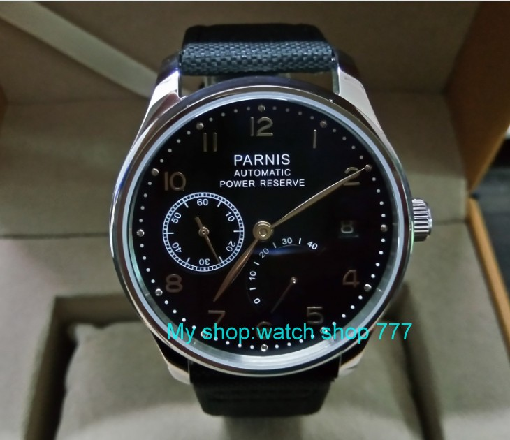 43mm PARNIS Automatic Self-Wind Mechanical movement men's watch Auto Date power reserve Mechanical watches Nylon  strap 67A tevise auto date automatic self wind watches nylon band green black watch men mechanical fashion casual clock with box