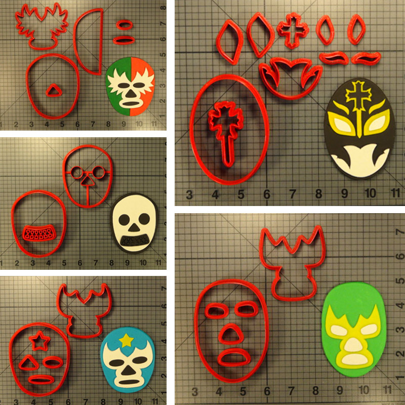 Cartoon Lucha Libre Mask Cookie Cutter Custom Made 3D Printed Set Fondant Cupcake Top Cake baking Mould