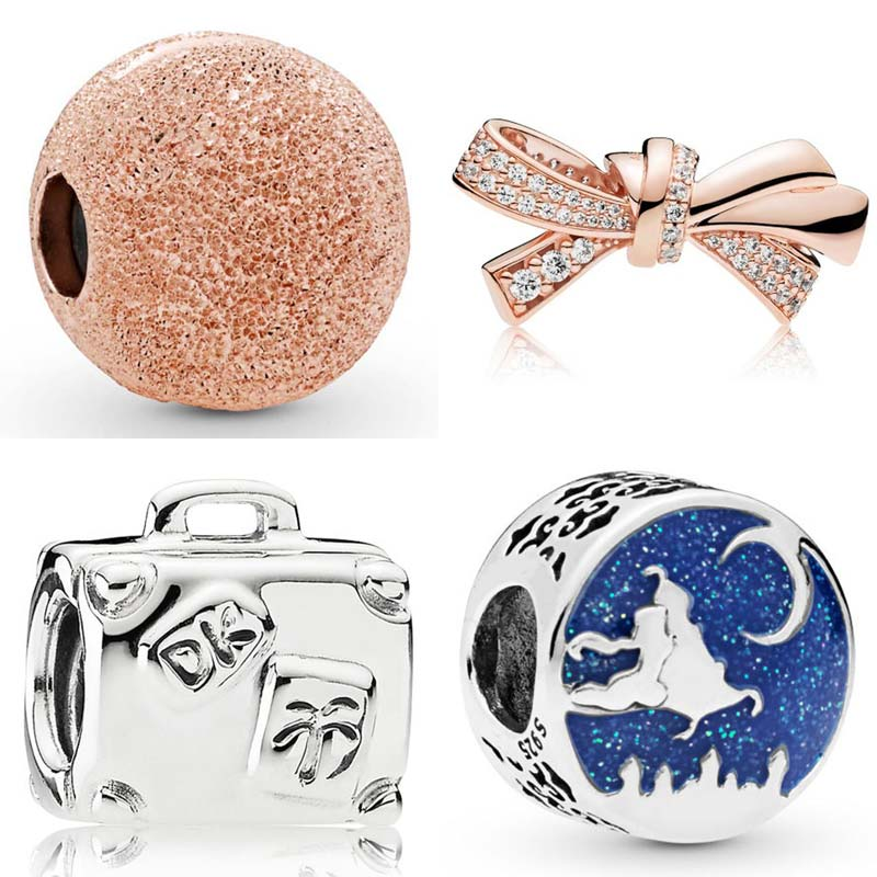 Beads Aladdin Magic Carpet Ride Rose Brilliant Bow Matte Brilliance Clip Beads Fit Pandora Bracelet 925 Sterling Silver Charm Easy To Repair