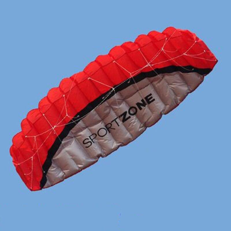 2.5 m En Plein Air Fun Sport Dual Power Ligne Stunt Parafoil Parachute Arc Sport Plage Kite Pour Débutant Adulte Jouet 4 couleur TD0002