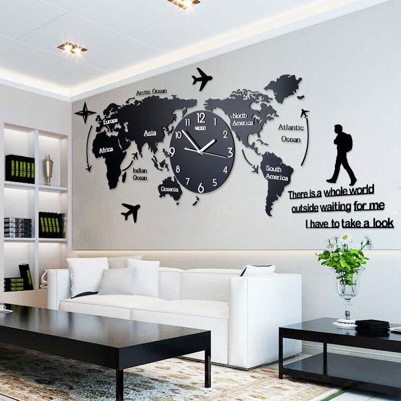 Nordic Style Besar Jam Dinding Akrilik Peta Dunia Berbentuk Bercahaya Non  Bercahaya Besar Gantung Menonton 34e77e5433