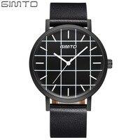 GIMTO Brand Creative Men Watch Leather Fashion Casual Female Male Watches Clock Lovers Quartz Wristwatch Sport