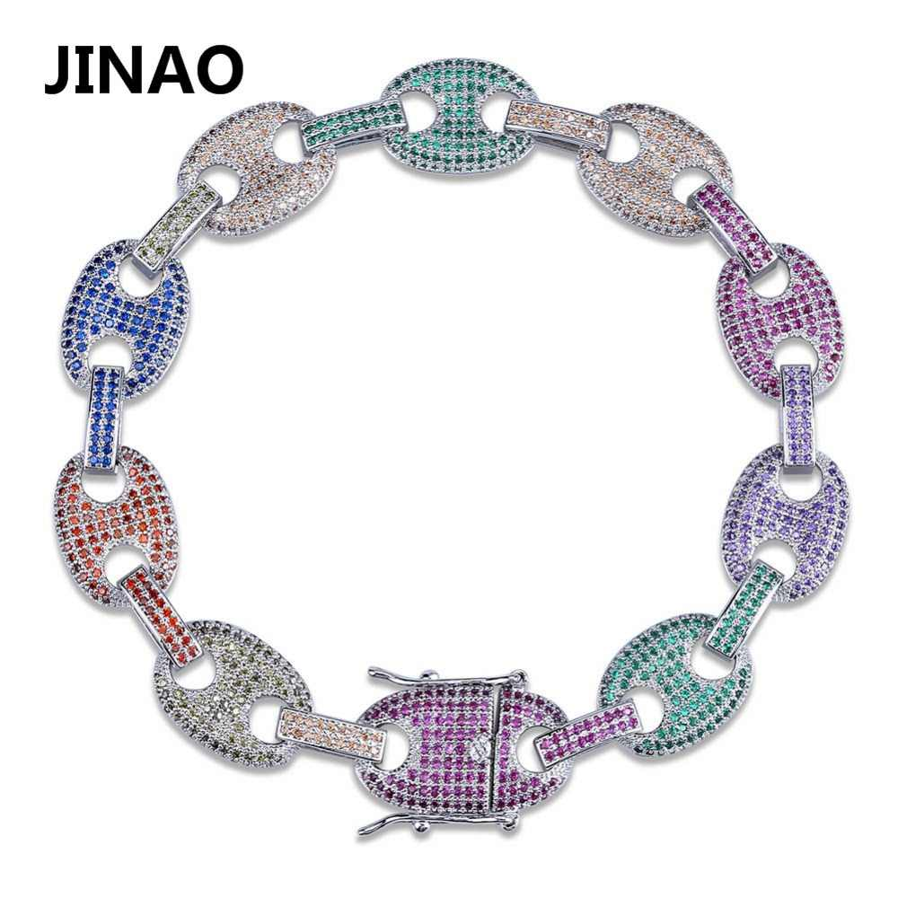 JINAO Hip Hop Rock Jewelry Rainbow Zircon Bracelets Gold Silver Plated Iced Out Puff Marine Anchpr Chain Link Bracelets 7 8 inch